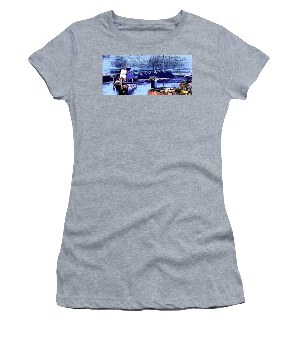 Abstract Women's T-Shirt featuring the photograph Tug Reflections by Rachel Christine Nowicki