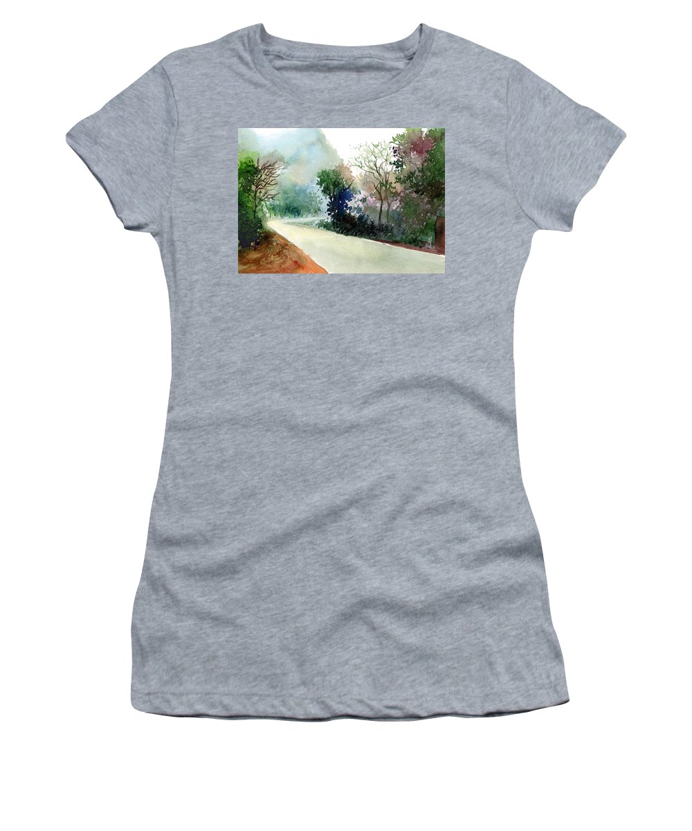 Landscape Water Color Nature Greenery Light Pathway Women's T-Shirt featuring the painting Turn Right by Anil Nene