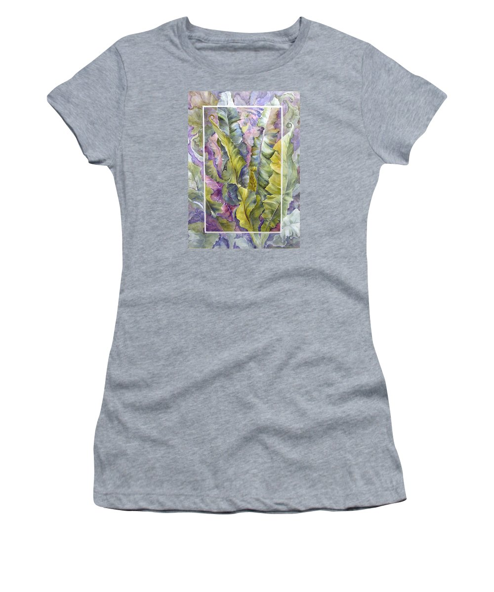Ferns;floral; Women's T-Shirt (Athletic Fit) featuring the painting Turns Of Ferns by Lois Mountz