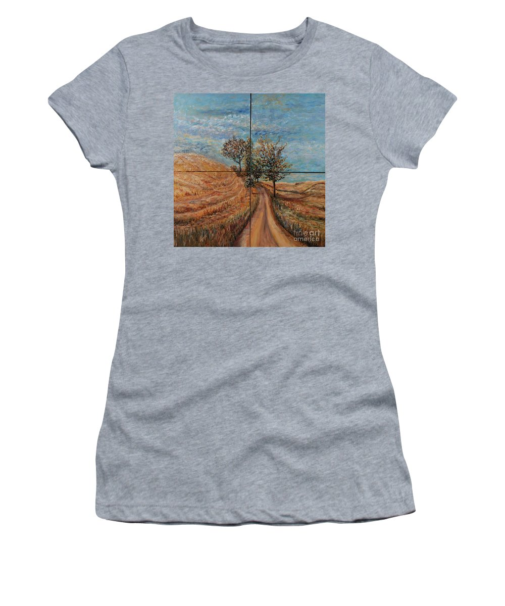 Landscape Women's T-Shirt featuring the painting Tuscan Journey by Nadine Rippelmeyer