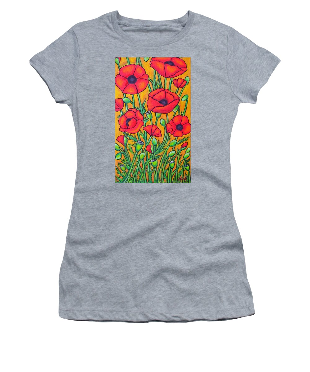 Poppies Women's T-Shirt (Athletic Fit) featuring the painting Tuscan Poppies - Crop 2 by Lisa Lorenz