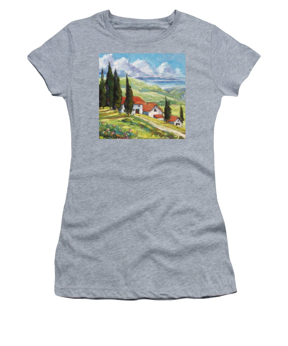 Tuscan Women's T-Shirt featuring the painting Tuscan Villas by Richard T Pranke