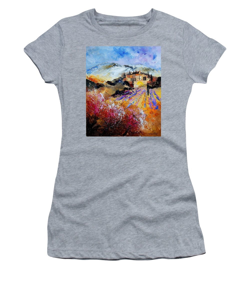 Provence Women's T-Shirt (Athletic Fit) featuring the painting Tuscany 56 by Pol Ledent