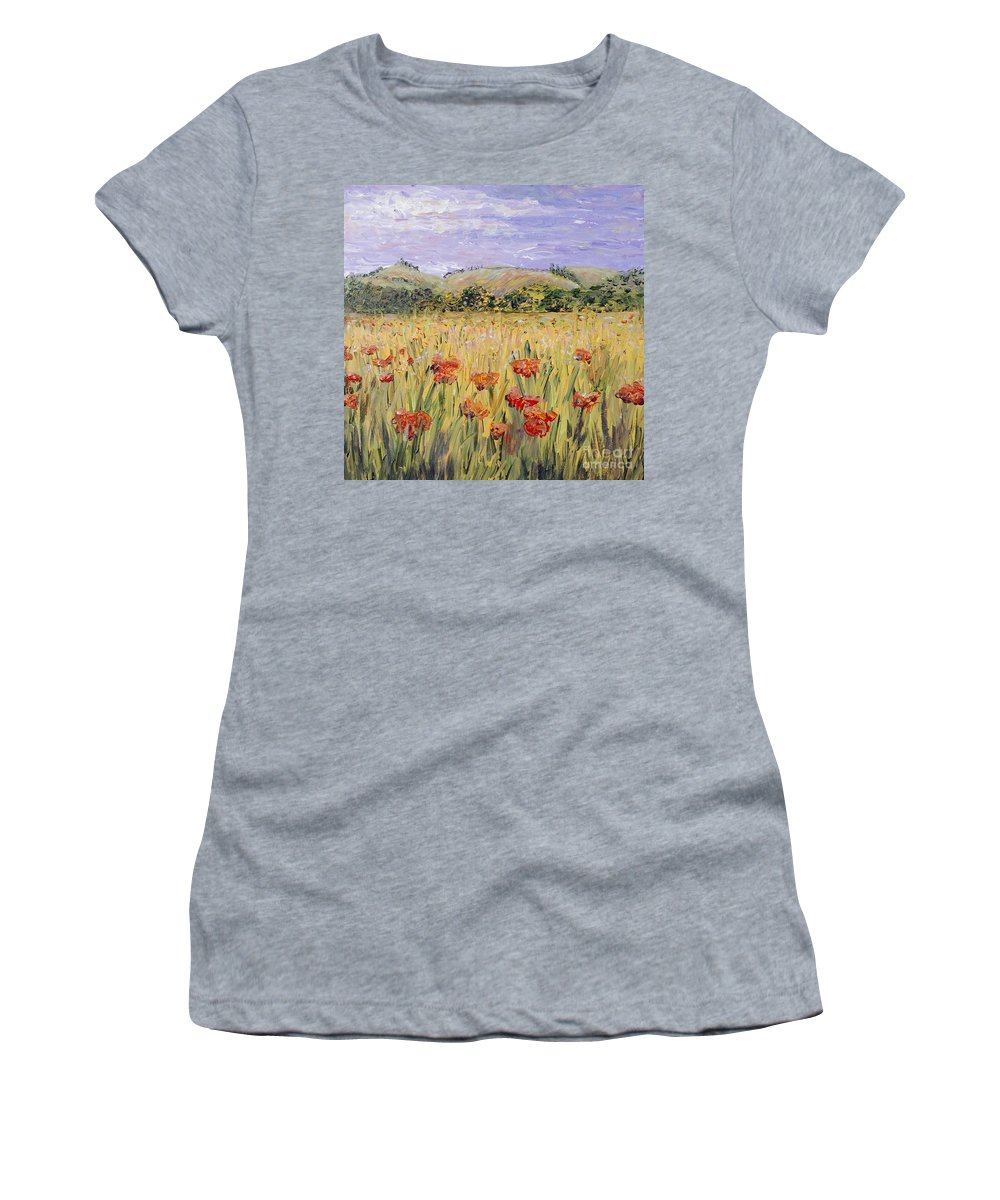 Poppies Women's T-Shirt featuring the painting Tuscany Poppies by Nadine Rippelmeyer