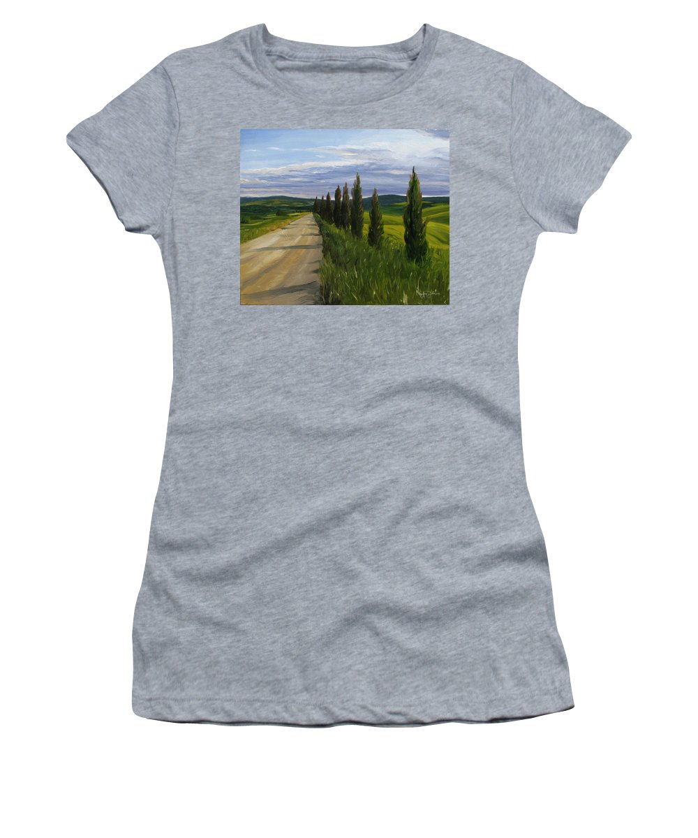 Women's T-Shirt featuring the painting Tuscany Road by Jay Johnson