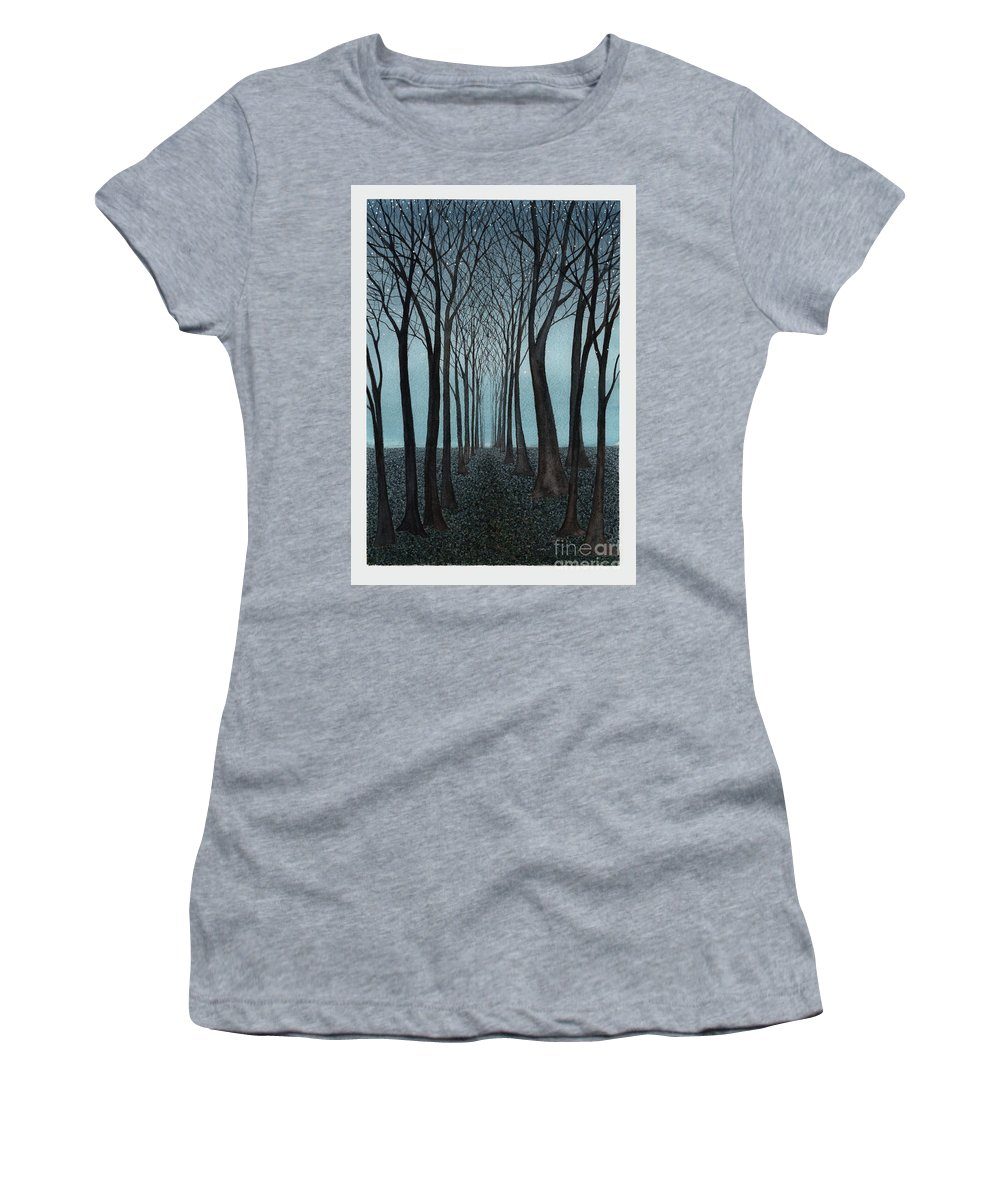Fantasy Women's T-Shirt (Athletic Fit) featuring the painting Twilight Forest by Hilda Wagner