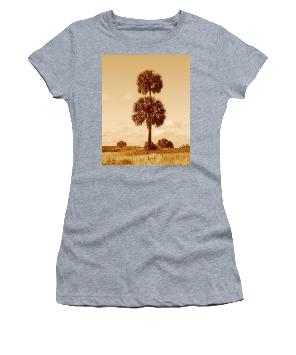 Nature Women's T-Shirt (Athletic Fit) featuring the photograph Twin Palms by Peg Urban