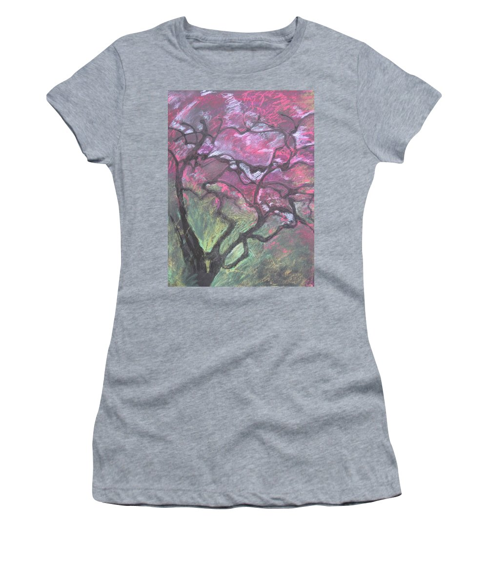 Pastel Women's T-Shirt featuring the drawing Twisted Cherry by Leah Tomaino