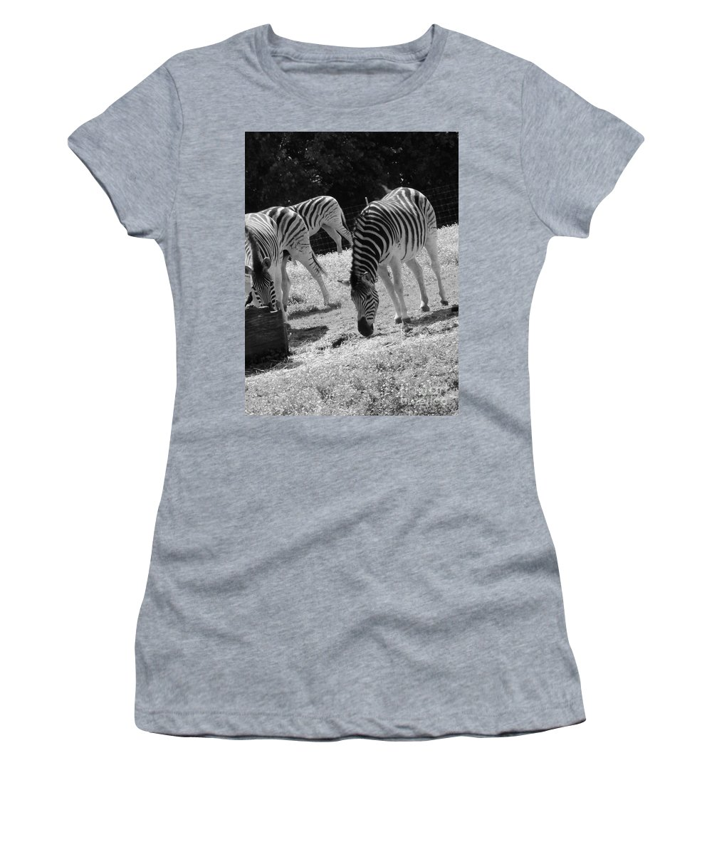 Zebras Women's T-Shirt featuring the photograph Two Zebras by Kathleen Struckle