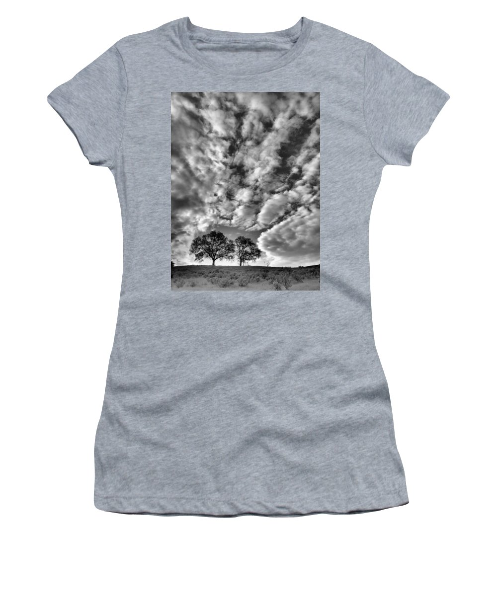 Trees Women's T-Shirt featuring the photograph Under Cover In Black And White by Tara Turner