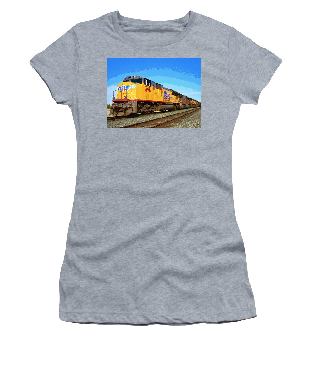 Union Pacific Women's T-Shirt (Athletic Fit) featuring the mixed media Union Pacific by Dominic Piperata
