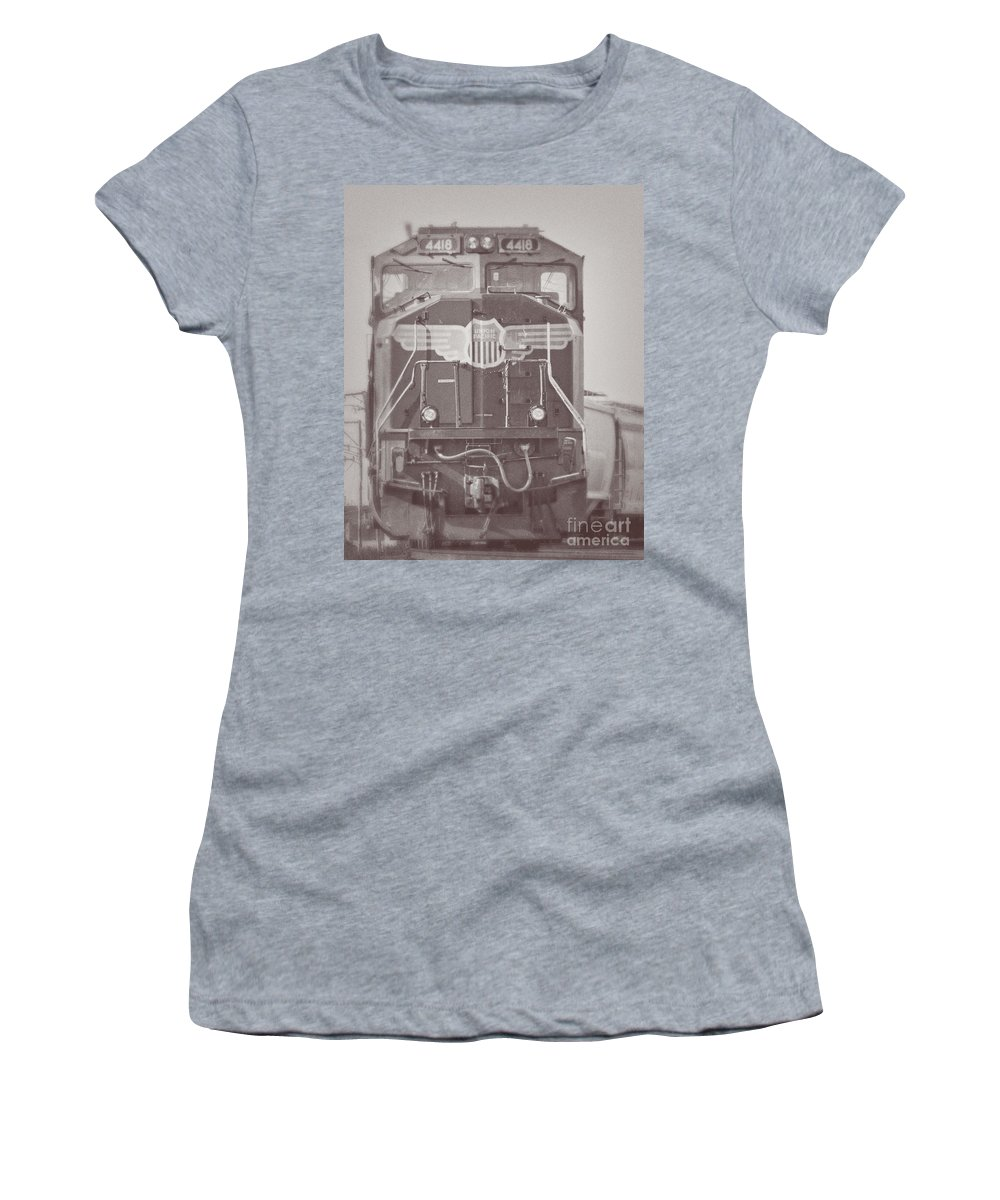 Union Pacific Women's T-Shirt (Athletic Fit) featuring the photograph Union Pacific Train by Emily Kay