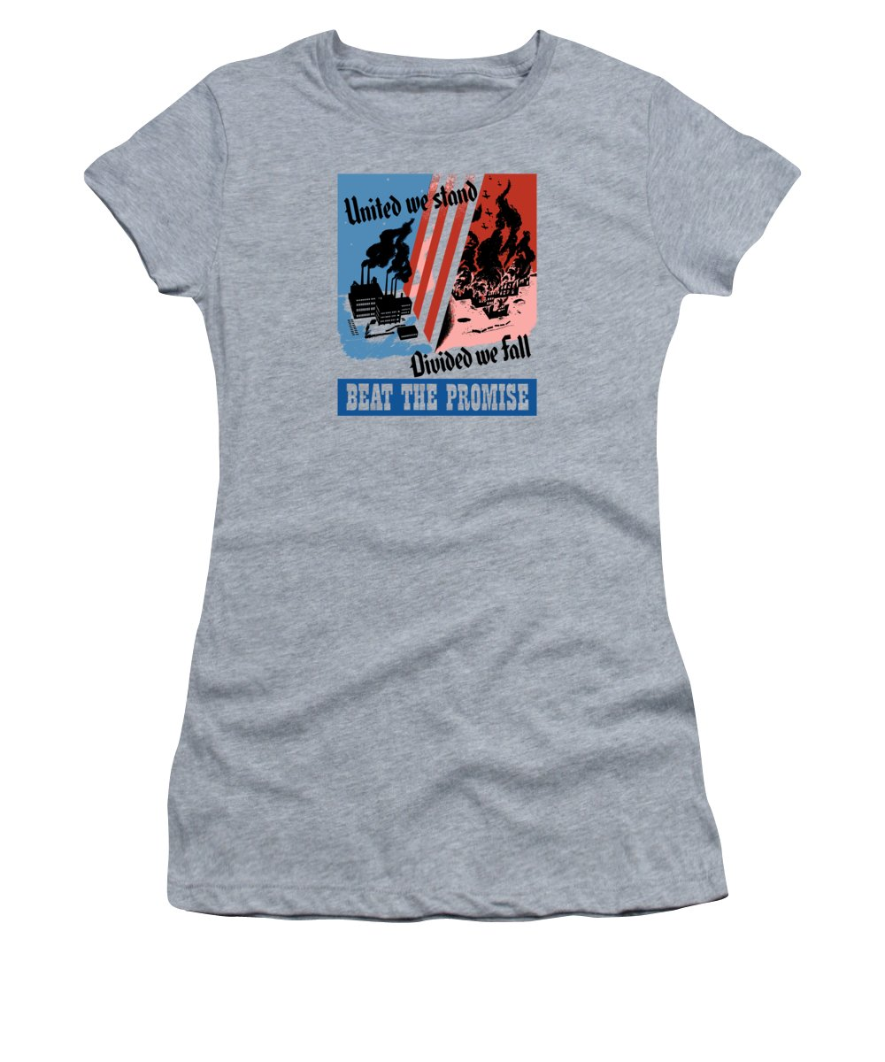 War Effort Women's T-Shirt (Athletic Fit) featuring the painting United We Stand Divided We Fall by War Is Hell Store