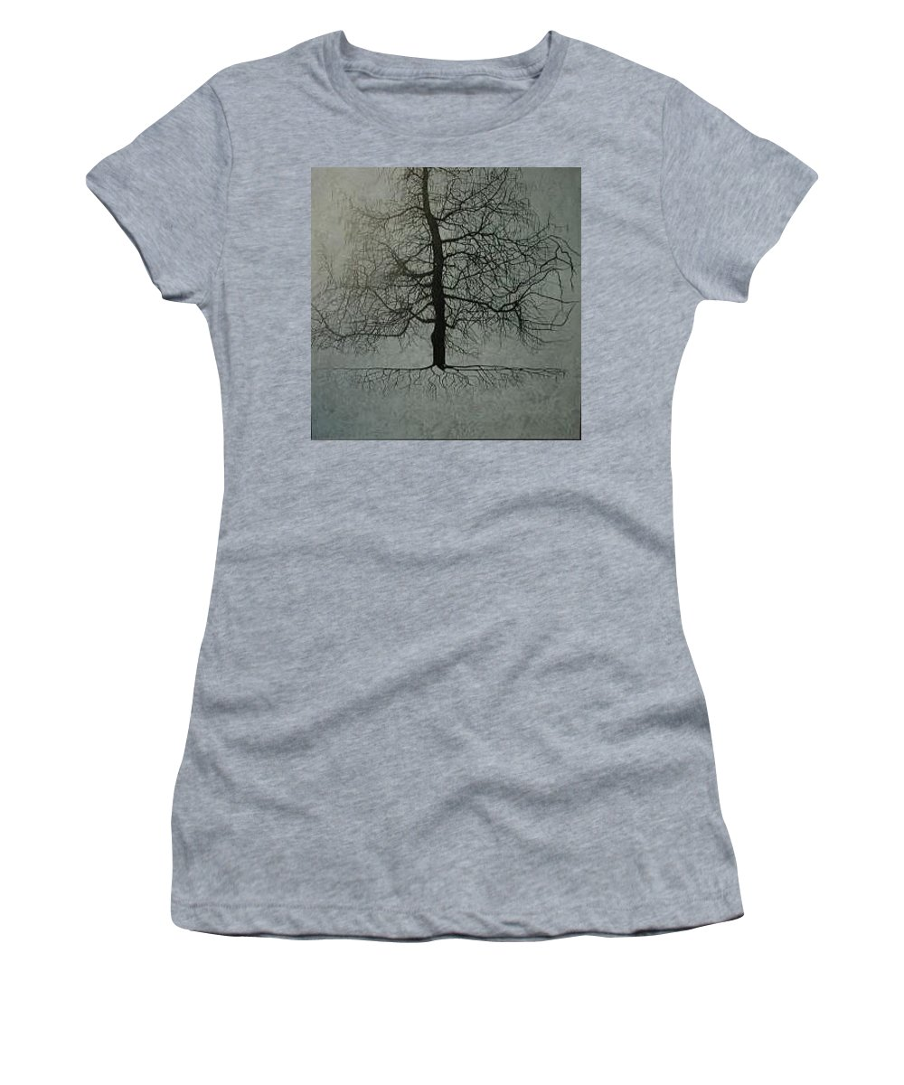 Silhouette Women's T-Shirt featuring the painting Untitled Blue by Leah Tomaino