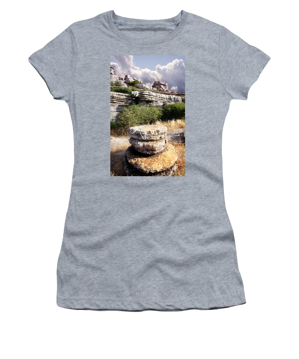 Limestone Women's T-Shirt featuring the photograph Unusual Rock Formations In The El Torcal Mountains Near Antequera Spain by Mal Bray