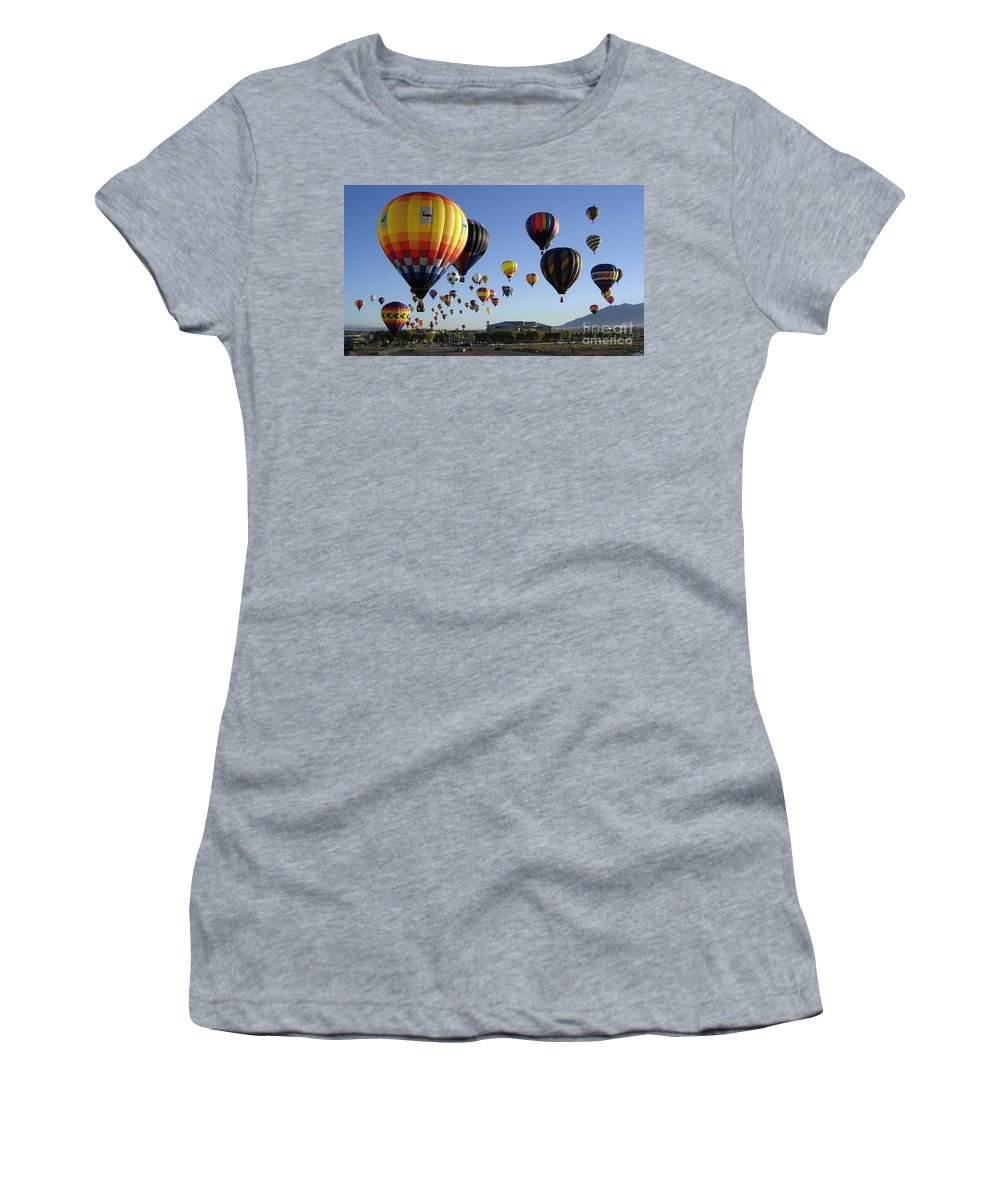 Balloons Women's T-Shirt (Athletic Fit) featuring the photograph Up And Away by Mary Rogers