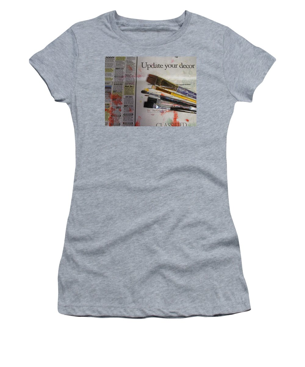 Brushes Women's T-Shirt (Athletic Fit) featuring the photograph Update Your Decor by Anita Burgermeister
