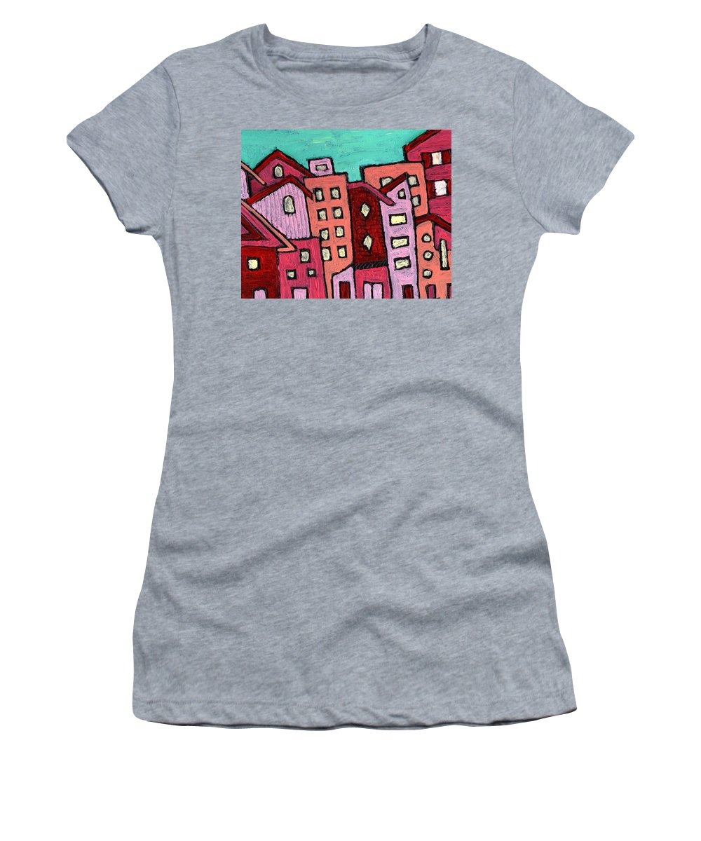 City Scene Women's T-Shirt (Athletic Fit) featuring the painting Urban Heat by Wayne Potrafka