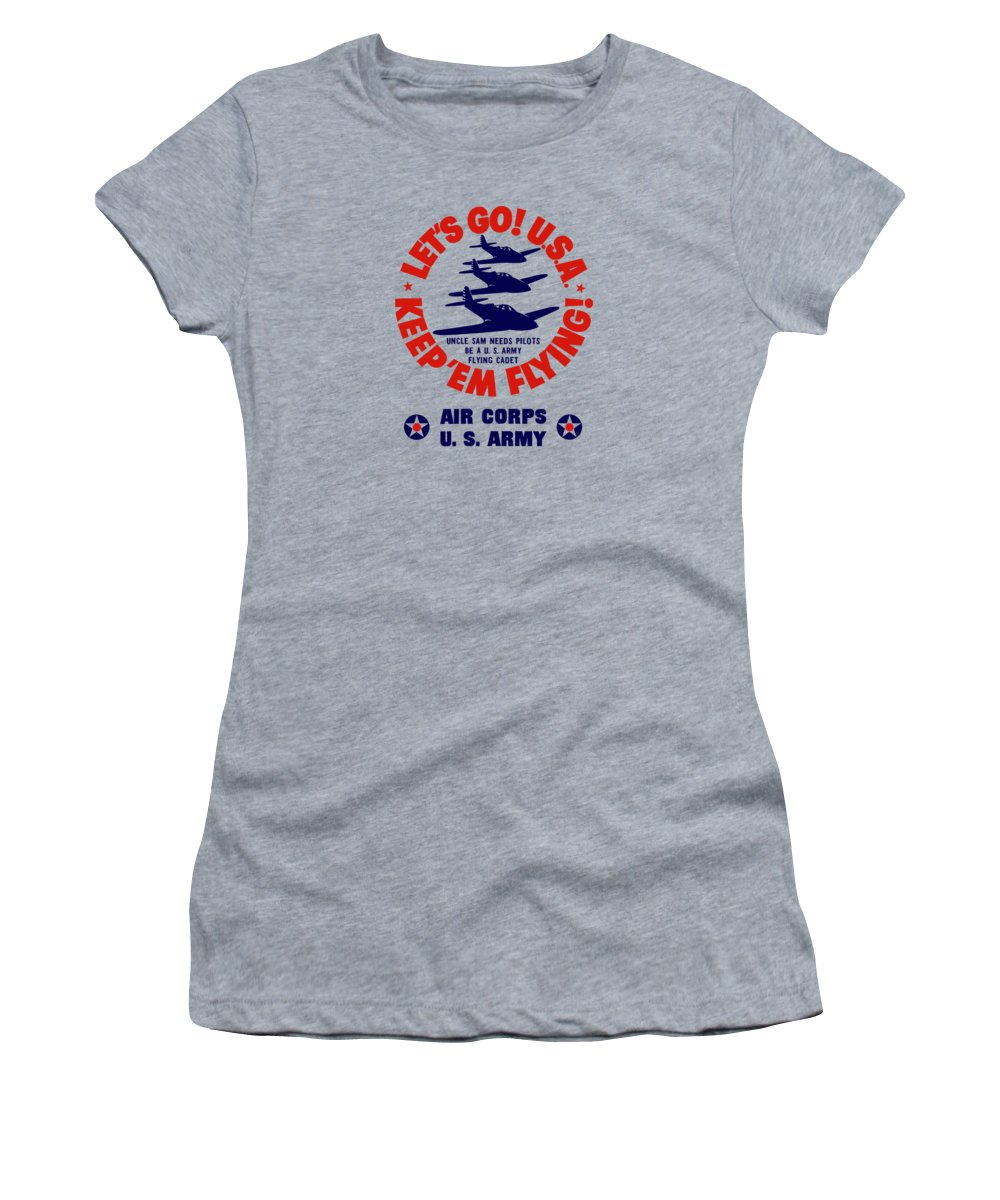 Air Corps Women's T-Shirt featuring the painting Us Army Air Corps - Ww2 by War Is Hell Store