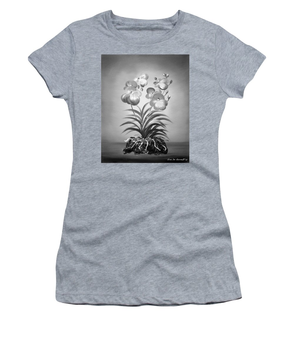 Black And White Women's T-Shirt featuring the painting Vanda Orchids In Black And White by Gina De Gorna