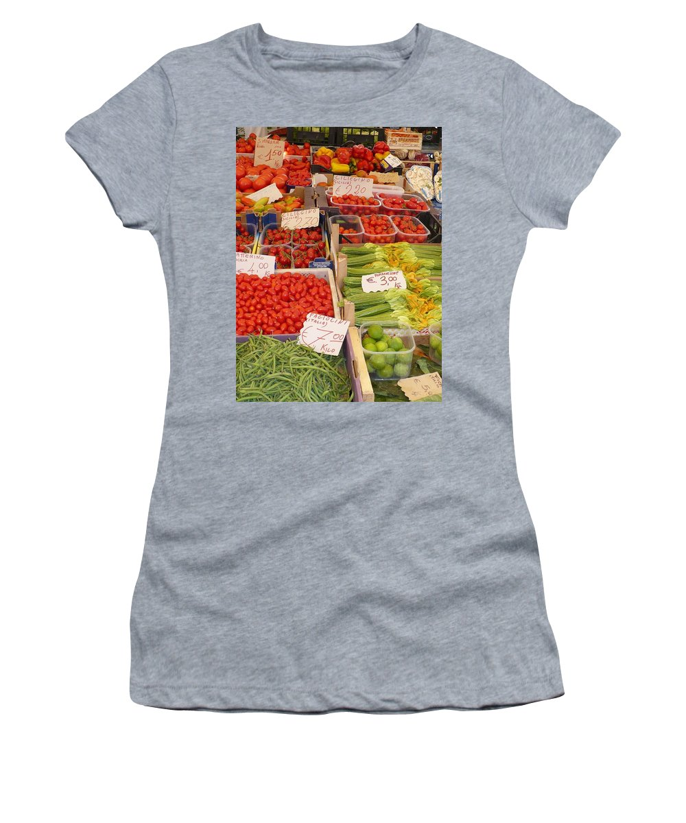 European Markets Women's T-Shirt (Athletic Fit) featuring the photograph Vegetables At Italian Market by Carol Groenen
