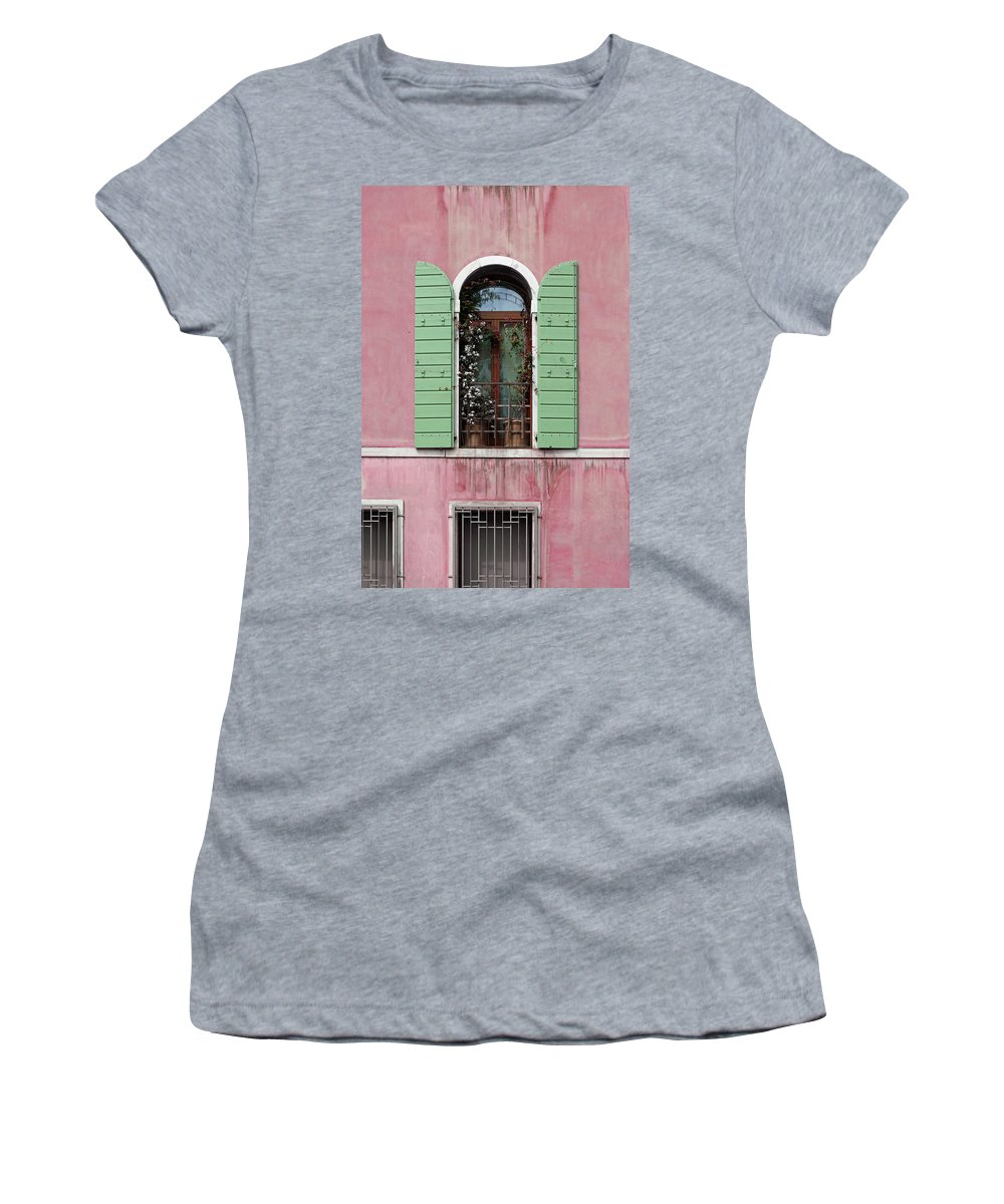 Venice Women's T-Shirt (Athletic Fit) featuring the photograph Venice Window In Pink And Green by Brooke T Ryan