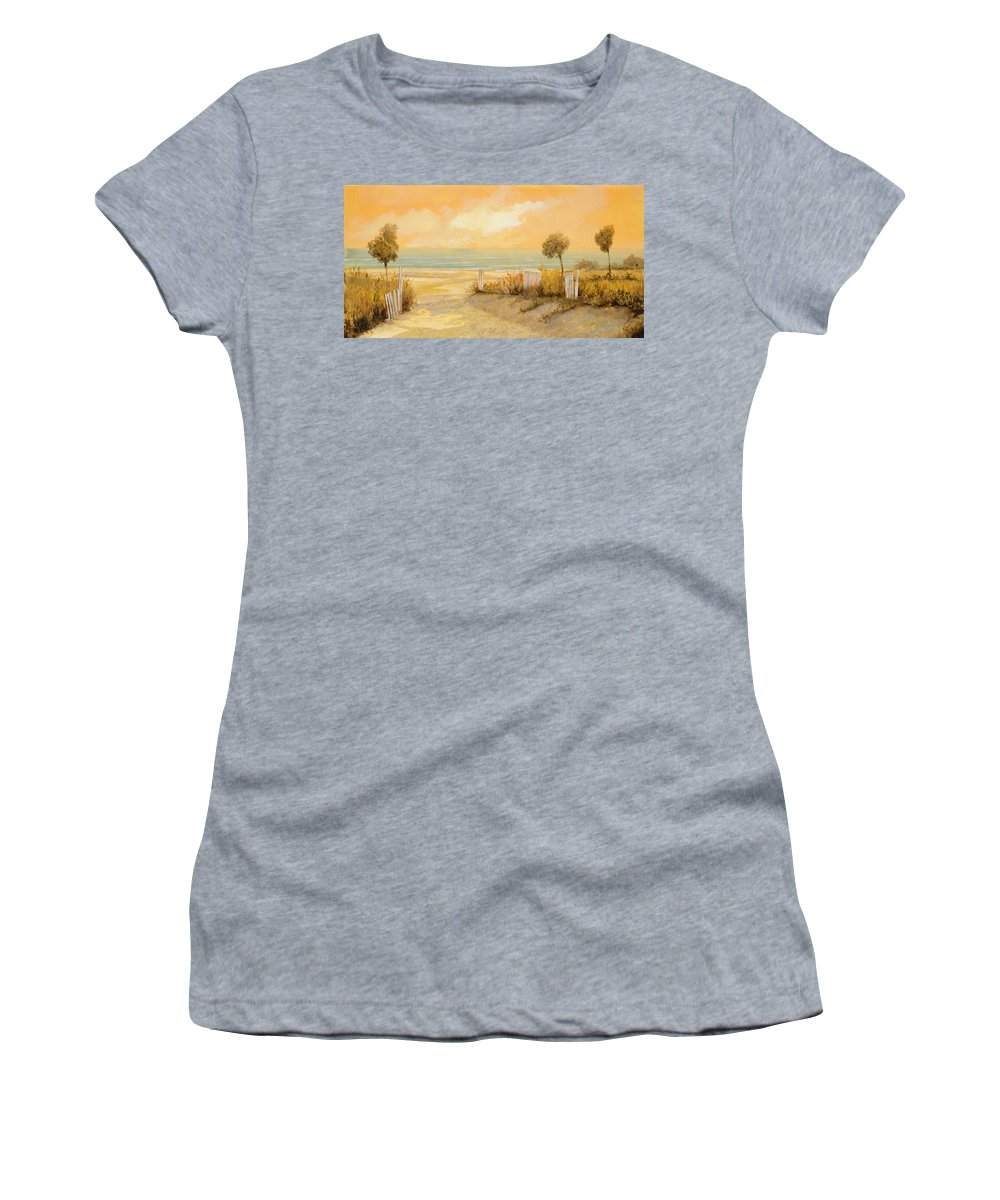 Beach Women's T-Shirt (Athletic Fit) featuring the painting Verso La Spiaggia by Guido Borelli