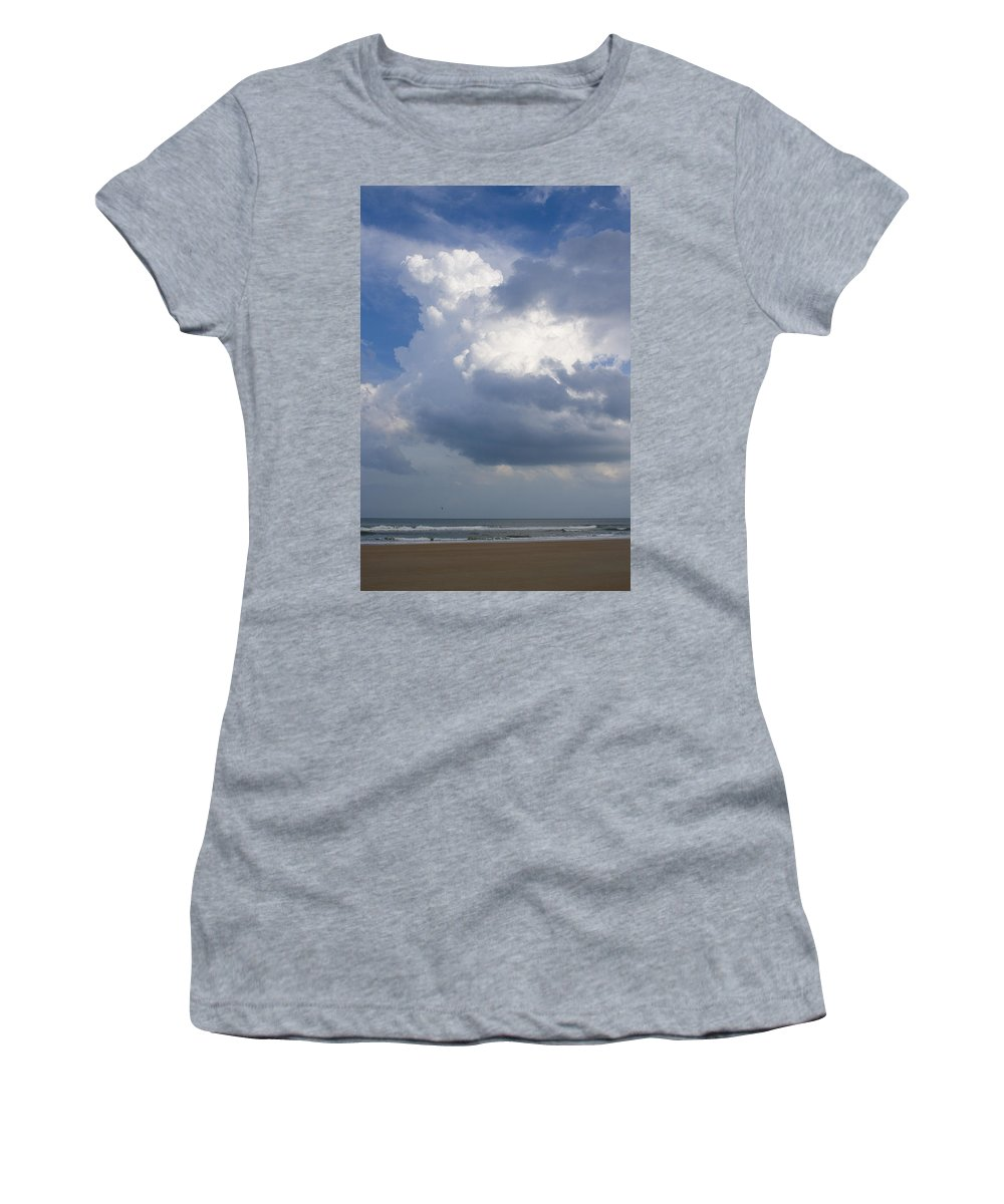 Ocean Nature Beach Sand Wave Water Sky Cloud White Bright Big Sun Sunny Vacation Relax Blue Women's T-Shirt (Athletic Fit) featuring the photograph Vessels In The Sky by Andrei Shliakhau