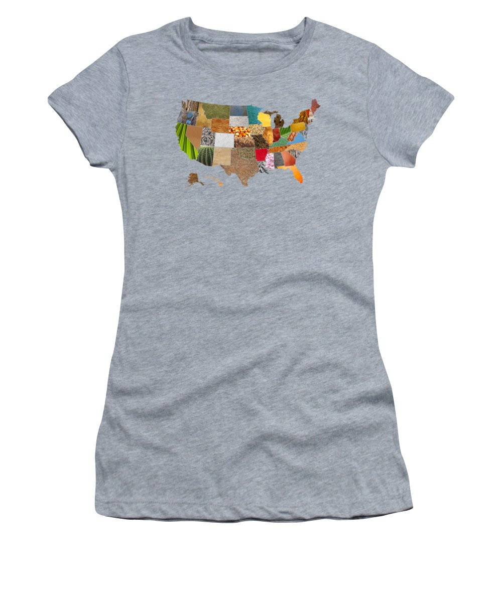 Vibrant Women's T-Shirt featuring the mixed media Vibrant Textures Of The United States by Design Turnpike