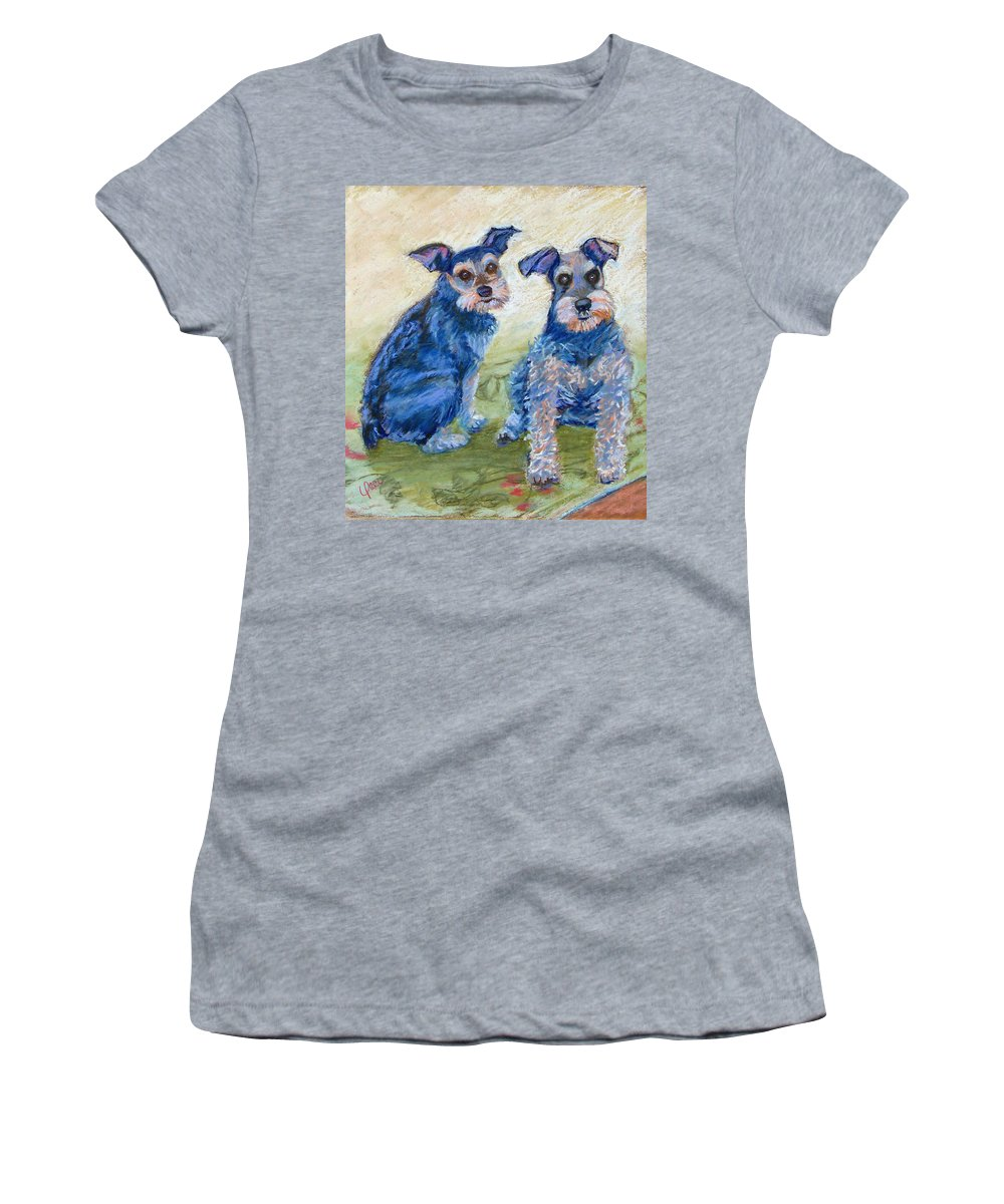 Dogs Women's T-Shirt (Athletic Fit) featuring the painting Vickie's Pups by Laurie Paci