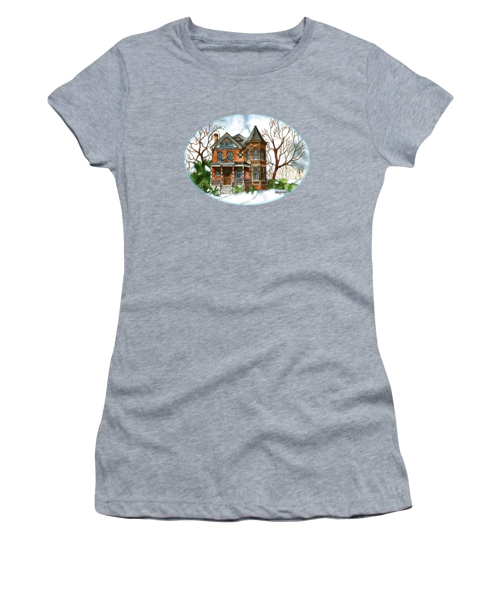 Victorian Women's T-Shirt (Athletic Fit) featuring the painting Victorian Winter by Shelley Wallace Ylst