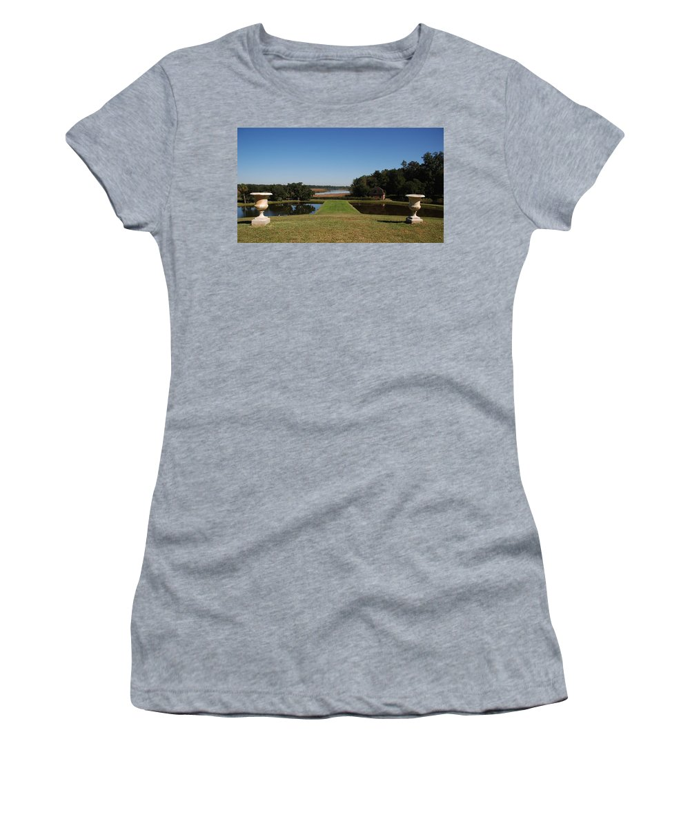 Photography Women's T-Shirt (Athletic Fit) featuring the photograph View Down To The Ashley River At Middleton Place Plantation Charleston by Susanne Van Hulst