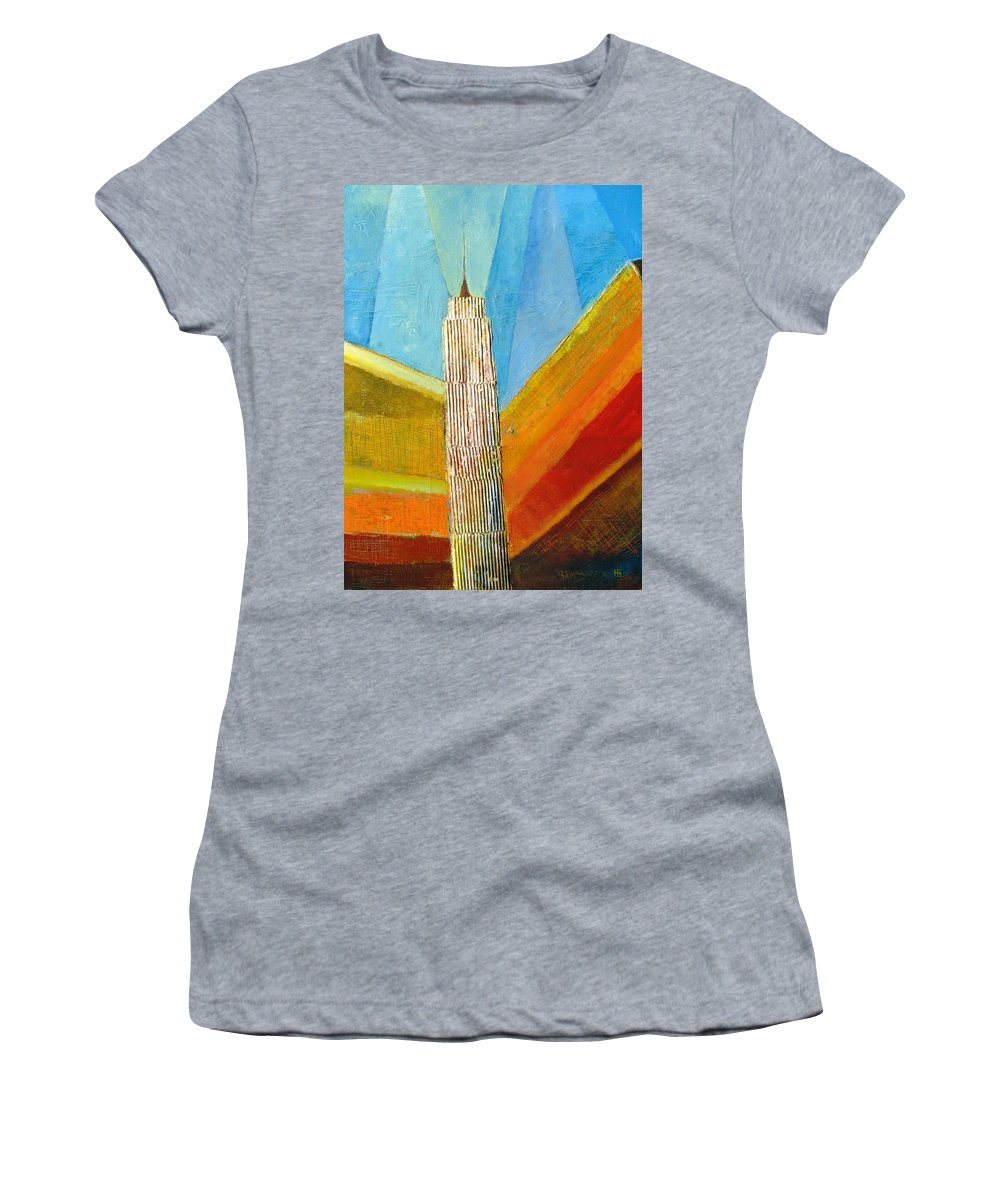Abstract Cityscape Women's T-Shirt (Athletic Fit) featuring the painting View From 34th St by Habib Ayat
