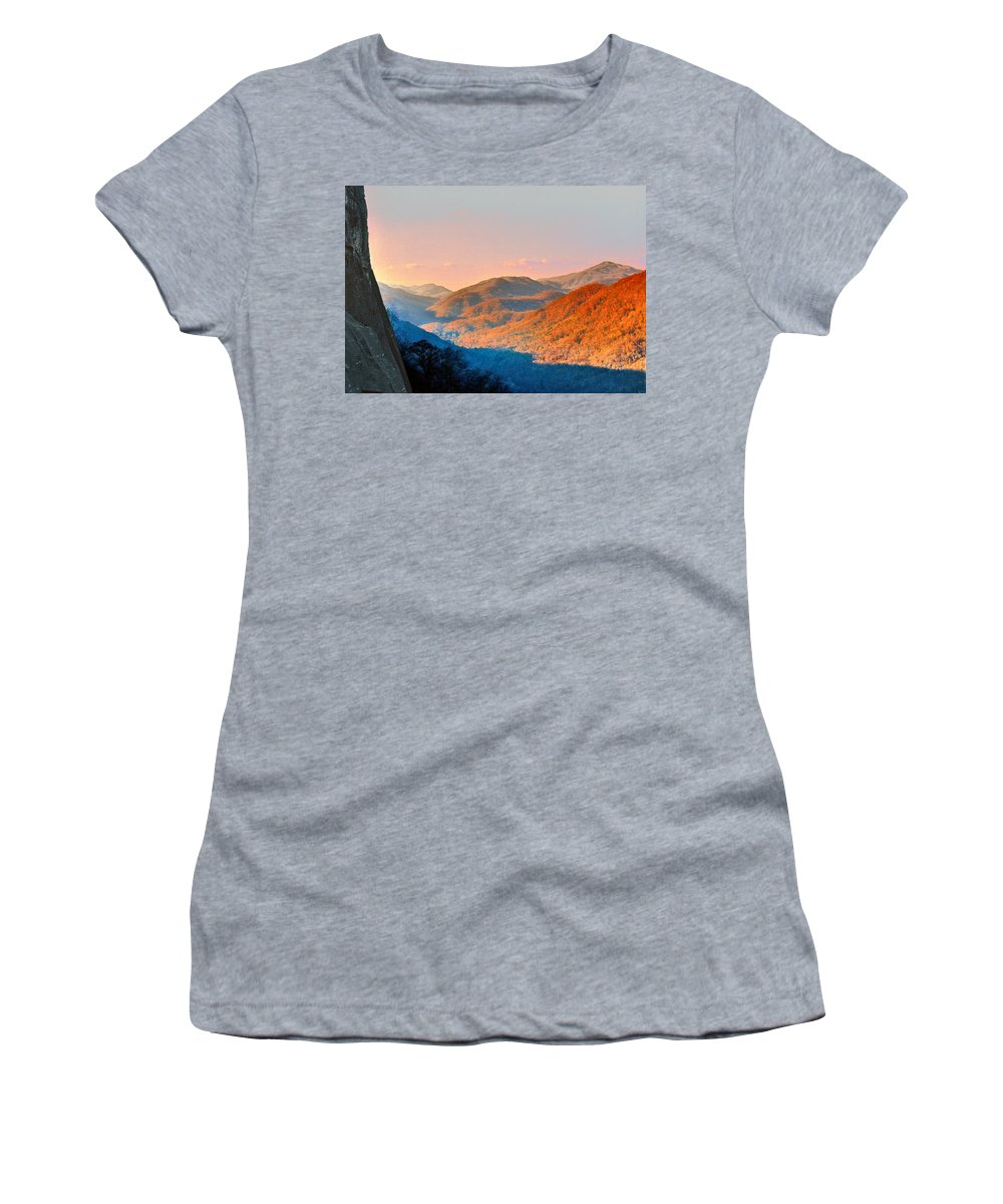Landscape Women's T-Shirt (Athletic Fit) featuring the photograph View From Chimney Rock-north Carolina by Steve Karol