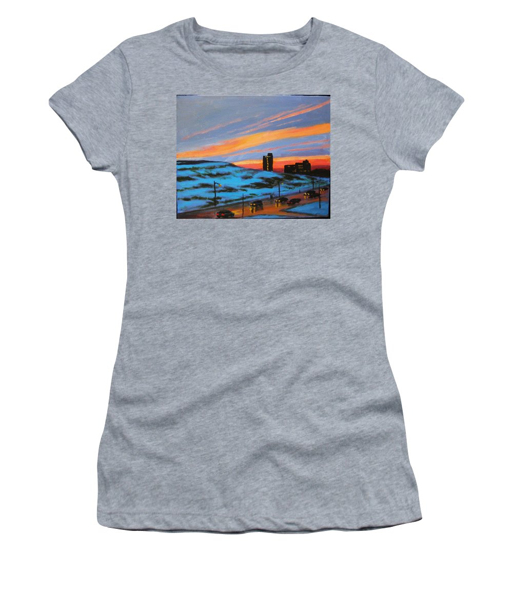 City At Night Women's T-Shirt (Athletic Fit) featuring the painting View From My Balcony by John Malone
