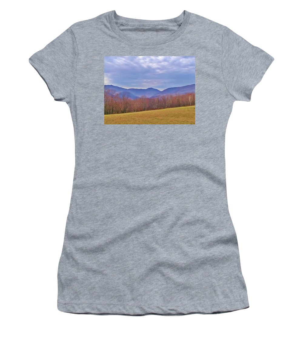 Stowe Women's T-Shirt (Athletic Fit) featuring the photograph View From Von Trapps Lodge 2 by Bill Cannon