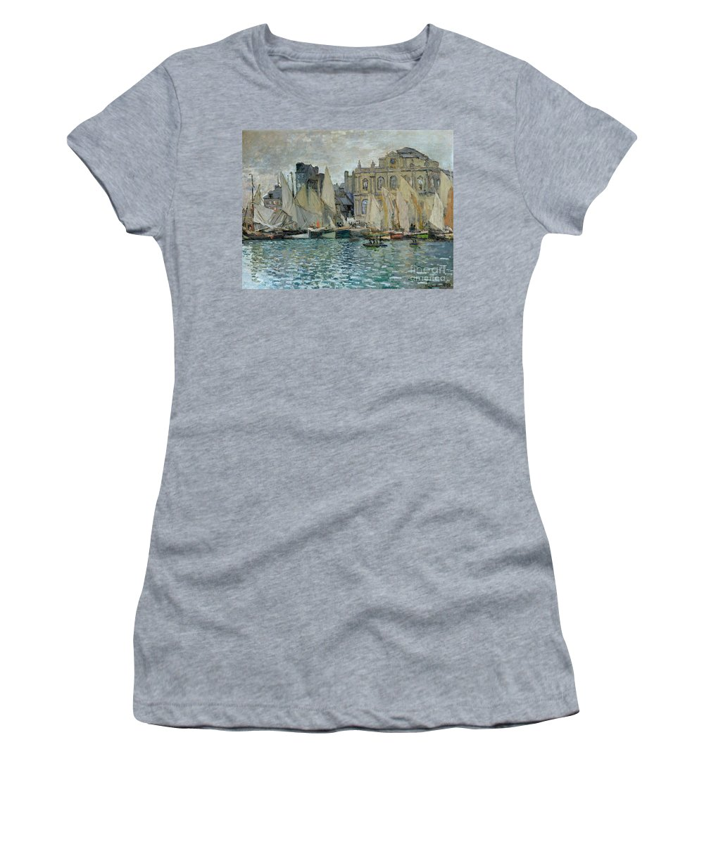 View Of Le Havre Women's T-Shirt (Athletic Fit) featuring the painting View Of Le Havre by Claude Monet
