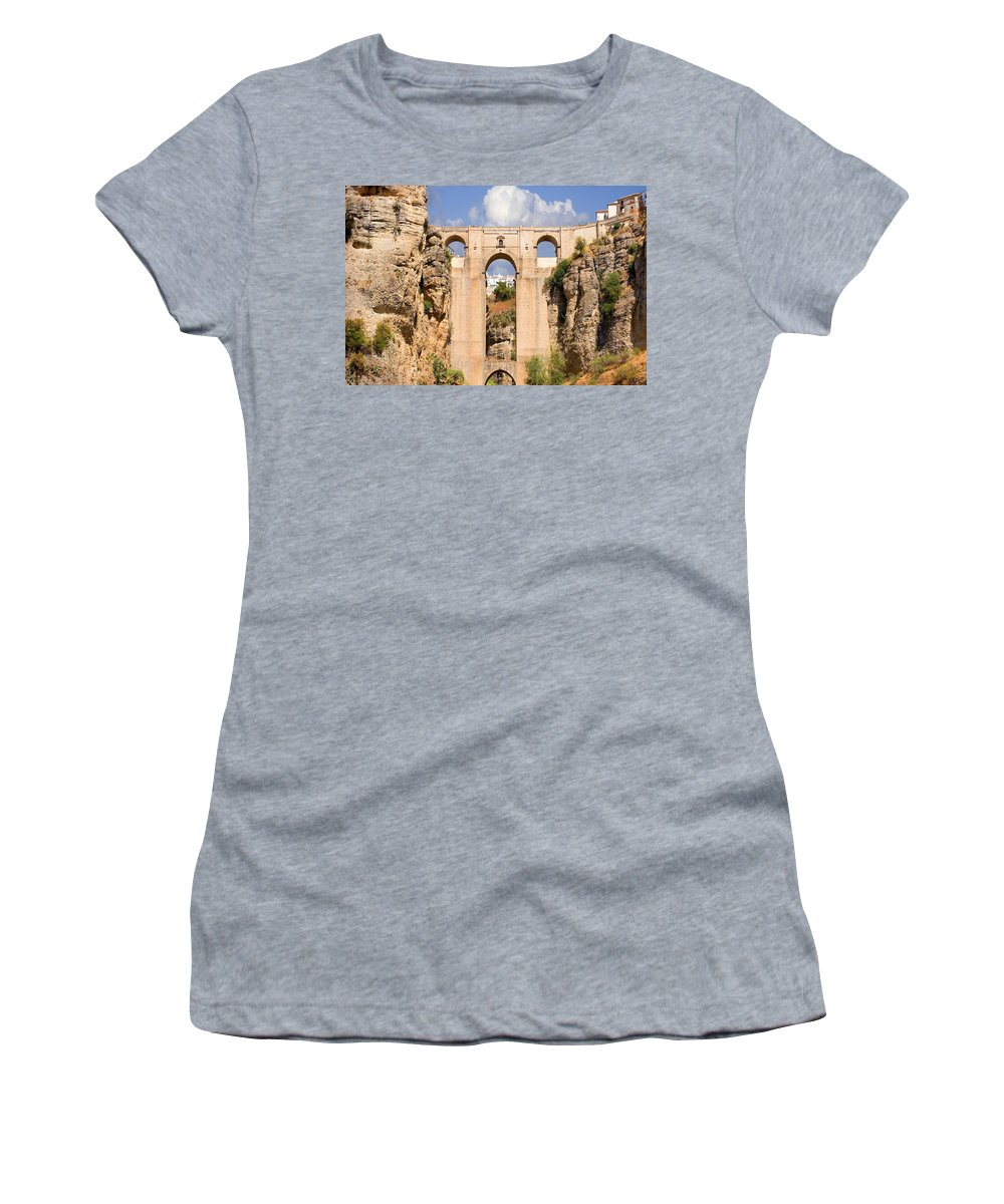 Ronda Women's T-Shirt featuring the photograph View Of The Tajo De Ronda And The Puente Nuevo Bridge From Across The Valley by Mal Bray