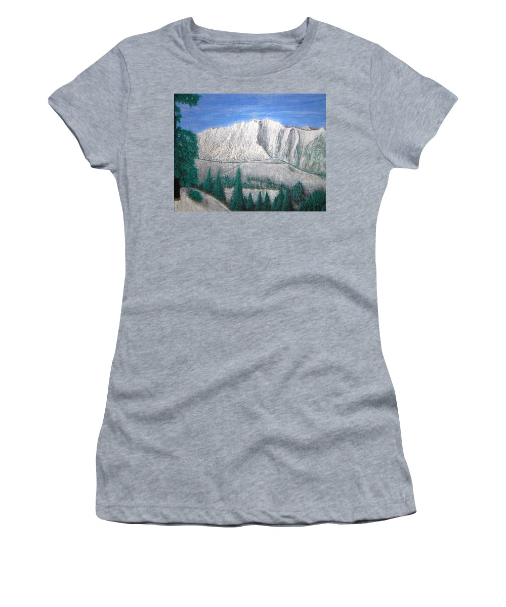 Snow Women's T-Shirt (Athletic Fit) featuring the painting Viewfrom Spruces by Michael Cuozzo