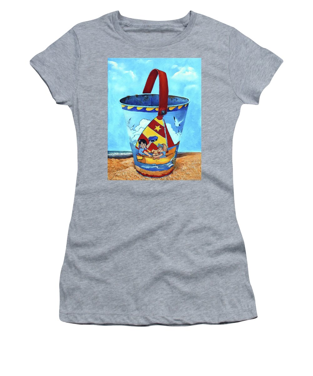 Vintage Women's T-Shirt (Athletic Fit) featuring the painting Vintage Tin Sand Bucket by Portraits By NC