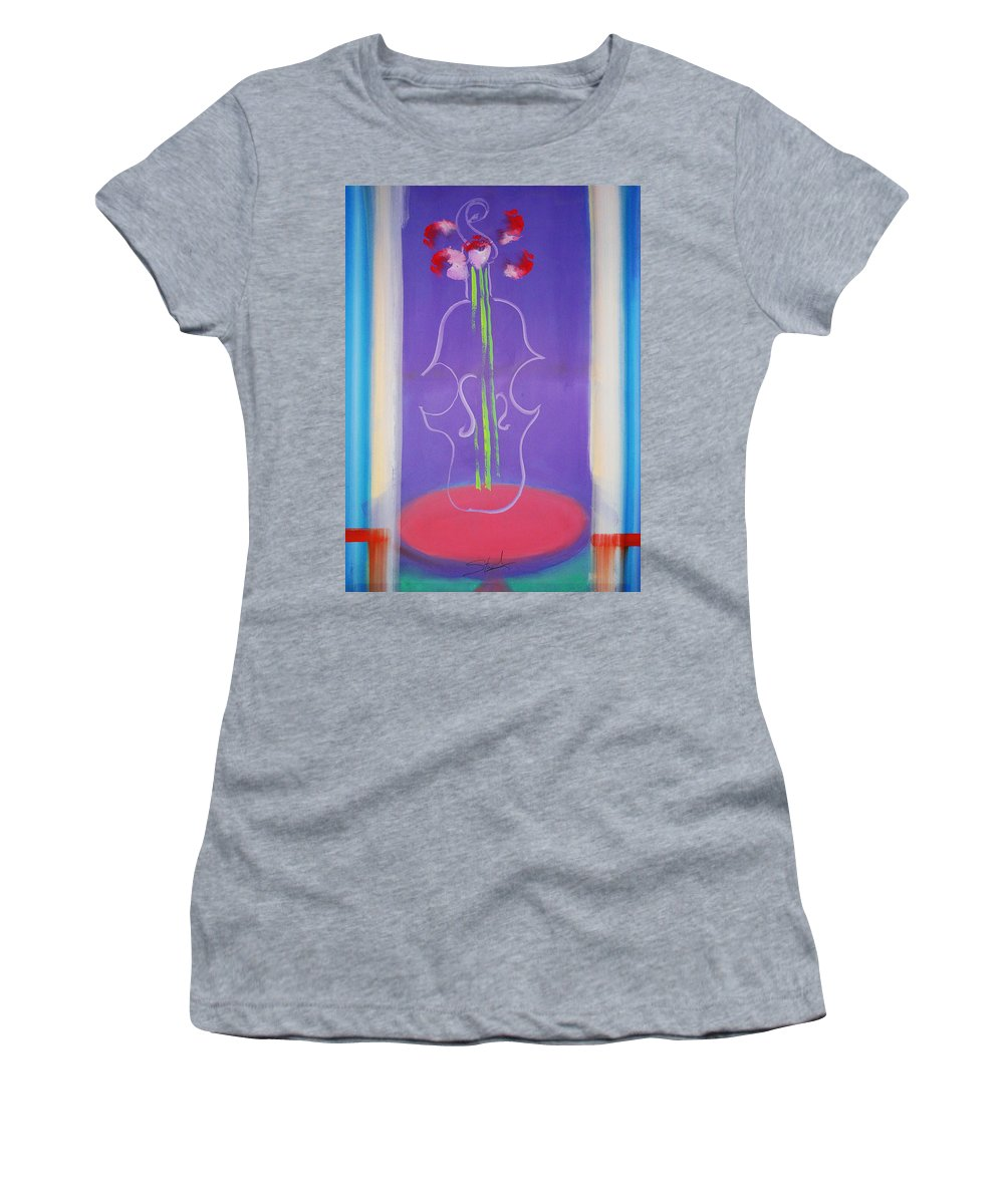 Violin Women's T-Shirt (Athletic Fit) featuring the painting Violin Vase by Charles Stuart