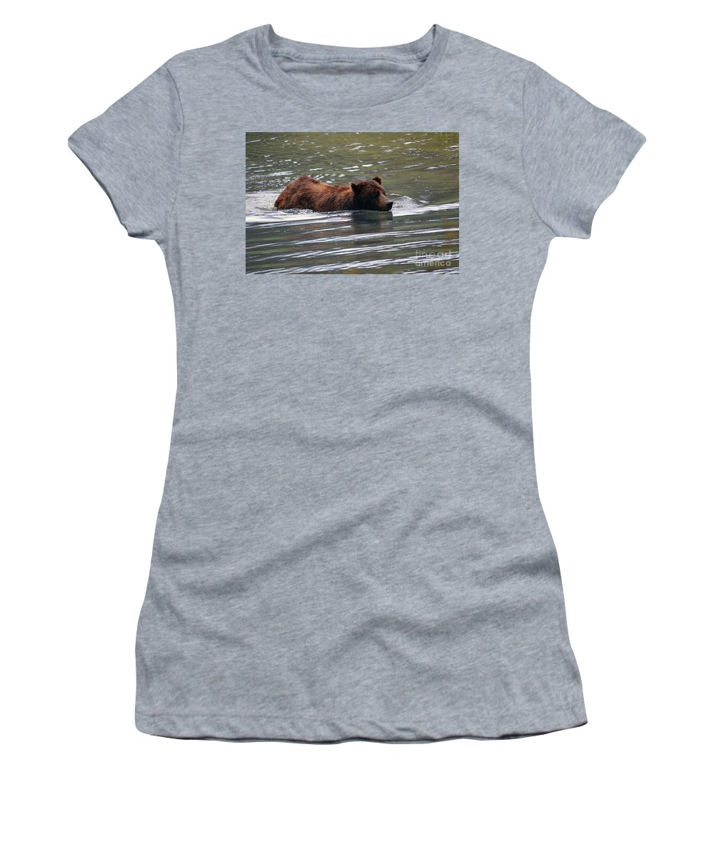 Deanna Cagle Women's T-Shirt featuring the photograph Wading Brown Bear by Deanna Cagle