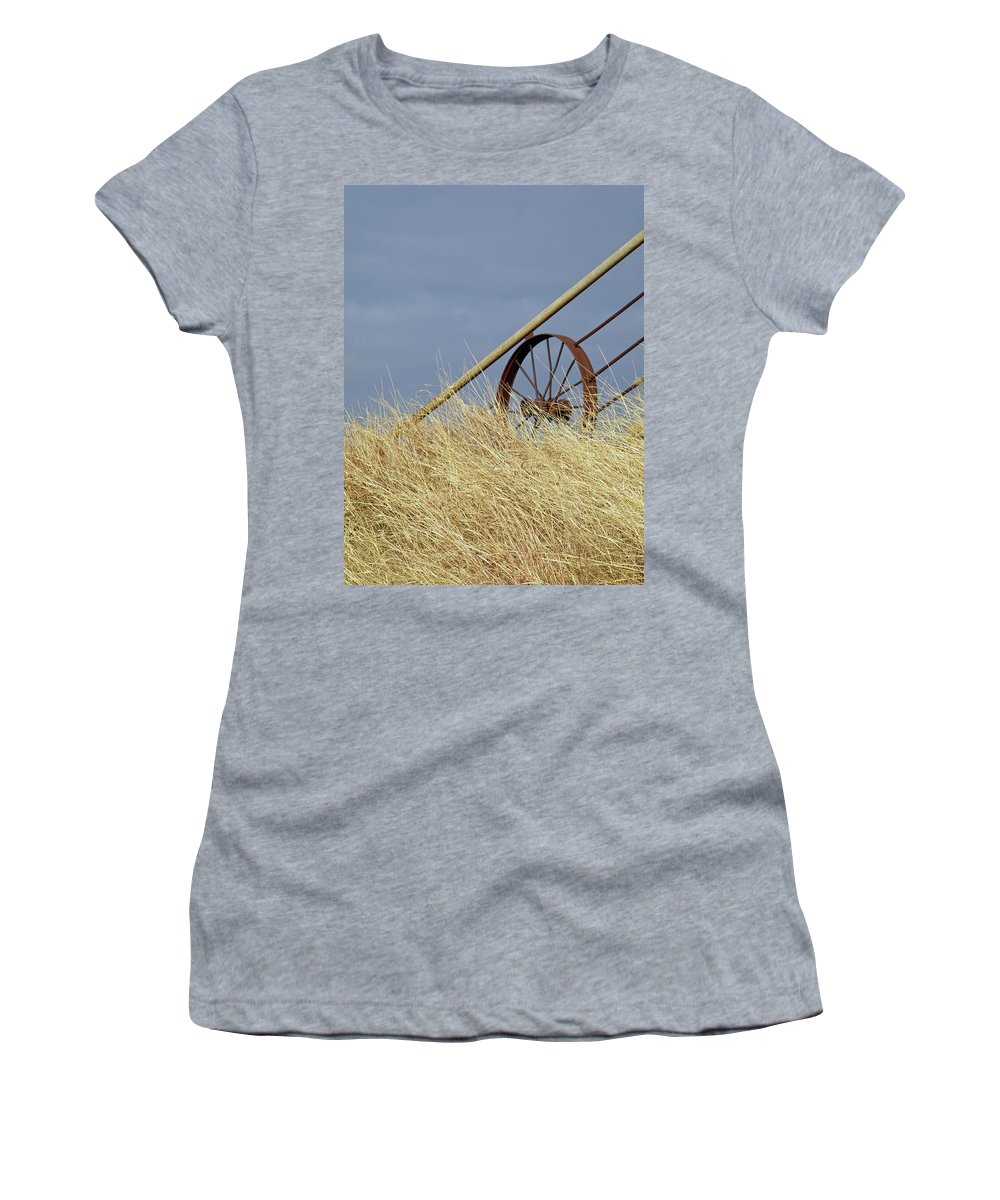 Wagon Wheel Women's T-Shirt featuring the photograph Wagon Wheel Fence by Gale Cochran-Smith