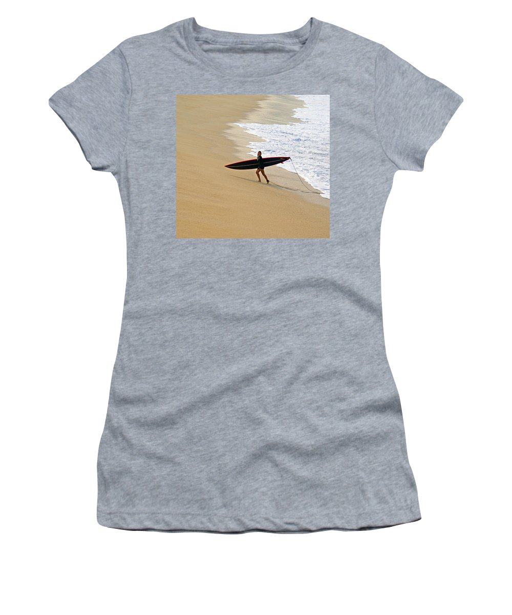 Waimea Bay Women's T-Shirt (Athletic Fit) featuring the photograph Wahine Surfer Waimea Bay by Kevin Smith