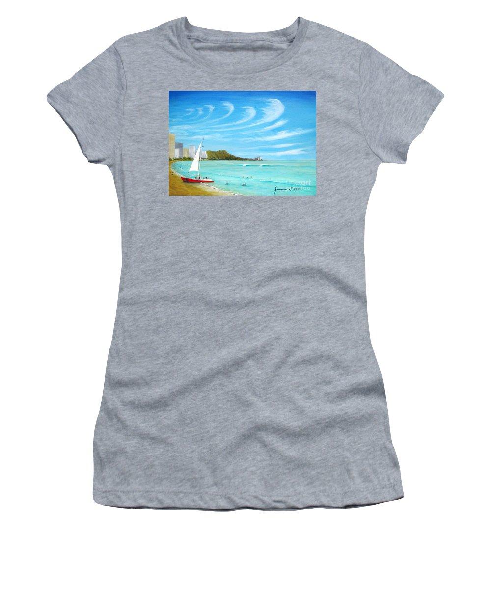 Waikiki Women's T-Shirt featuring the painting Waikiki by Jerome Stumphauzer