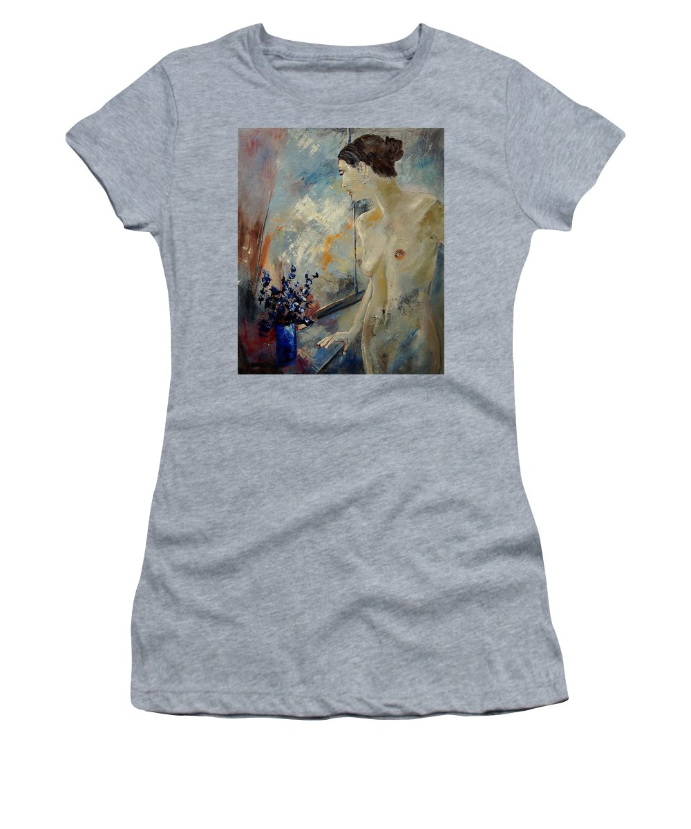 Girl Women's T-Shirt featuring the painting Waiting For Her Lover by Pol Ledent