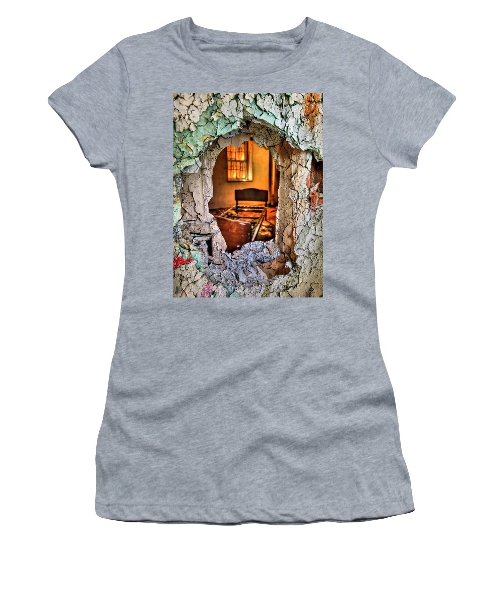 Bed Women's T-Shirt featuring the photograph Wake Up And Smell The Misery by Evelina Kremsdorf