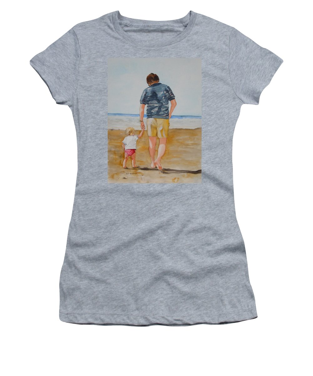 Beach Women's T-Shirt featuring the painting Walking With Pops by Jean Blackmer