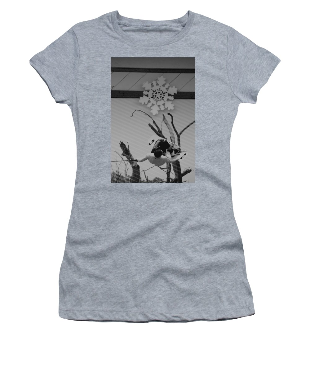 Snow Flake Women's T-Shirt (Athletic Fit) featuring the photograph Wall Surfing With A Snow Flake by Rob Hans