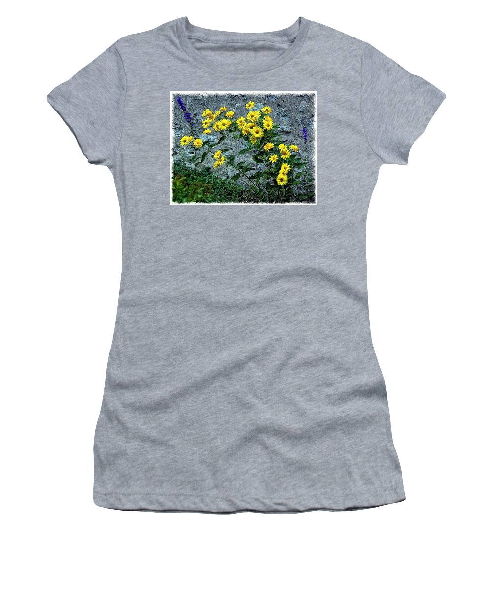 Flower Women's T-Shirt (Athletic Fit) featuring the photograph Wallflower Ain't So Bad by Steve Harrington